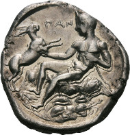 Lot 44: Messana. Tetradrachm, circa 420-413. De Luynes 1022. Rizzo pl. XXVI, 12. Caccamo Caltabiano 508.1. EF. Estimated: 100,000 CHF.
