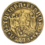 Spain. Ferdinand and Isabella (1479-1504). Dobla Excelente, Sevilla. Crowned busts of Ferdinand (to the right) and Isabella (to the left). Rv. Coat of arms of Castile and Leon, eagle with wings spread in the background. © MoneyMuseum, Zurich.