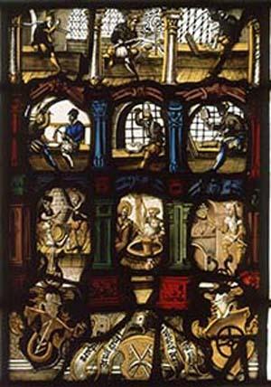 Glasgemälde aus der Schaffhauser Münze mit Darstellung der Arbeitsgänge in einer Münzwerkstätte. Angefertigt im Jahr 1565, heute im Münzkabinett der Staatlichen Museen zu Berlin, ausgestellt im Bode-Museum, Raum 241.