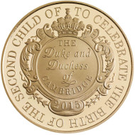 United Kingdom / 2015 / £5 / 22 Carat Gold / 38.61mm / 39.94g / Reverse Designer: John Bergdahl / Obverse Designer: Jody Clark / Mintage: 500.