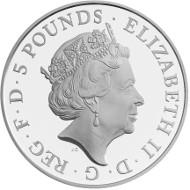 United Kingdom / 2015 / £5 / .925 Sterling Silver / 38.61mm / 28.28g / Reverse Designer: John Bergdahl / Obverse Designer: Jody Clark / Mintage: 9,500.