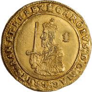 Lot 112 - Charles I, triple unite, Oxford mint, mm. Estimate: 70,000 GBP - 80,000 GBP.