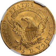 Lot 646 - USA, 5 dollars, 1808, capped bust of Liberty l., rev. eagle with shield on breast. Estimate: 12,500 GBP - 15,000 GBP.