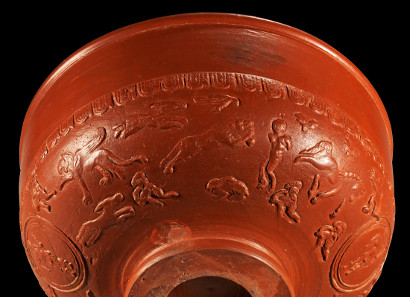 Terra Sigillata bowl with damnatio ad bestias. Roman, La Graufesenque, 2nd-3rd cent. A. D. Auction Gorny & Mosch