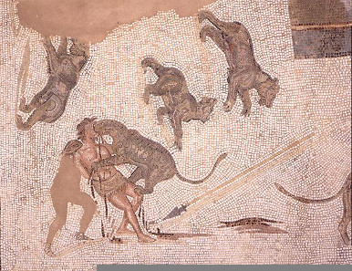 Damnatio ad bestias. Third-century AD mosaic in the Museum of El Djem (Tunisia). Source: Wikipedia. Photo: Rached Msadek.