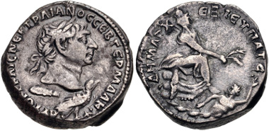 Lot 592: PHOENICIA, Tyre. Trajan. AD 98-117. Tetradrachm. Struck AD 110-111. McAlee 470; Prieur 1498. VF. From the J. S. Wagner Collection. Estimate $200.