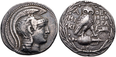 Lot 204: ATTICA, Athens. Circa 165-42 BC. Tetradrachm. Struck 137/6 BC. Thompson 322 var.; HGC 4, 1602; SNG Lockett 1909 var. Near VF. From the collection of Alexandre Carathéodory Pasha. Estimate $150.