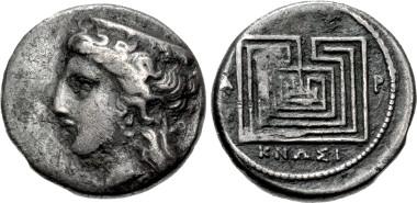 CRETE, Knossos. Circa 300-270 BC. Drachm. Svoronos, Numismatique 70; SNG Copenhagen 374. Fine, toned. CNG 99, Lot 153. Estimate: $500.