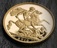 St George on the Gold Sovereign 2015.
