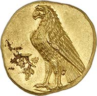 Abydos. Gold stater, about 330 B. C. 8.60 g. Head of Artemis en face, wearing a wreath, above a polos adorned with acanthus leaves, long earrings, pearl neacklace. Rv. eagle l. standing, in front of it wine branch with grapes. From auction Numismatica Genevensis S.A. 6 (2010), 84. Unique specimen of utmost historical and artistic significance. Estimate: CHF 350,000.