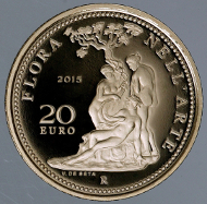 Italy / 2015 / 20 euro / Gold .900 / 6,451 g / 21 mm / Proof / Designer: Valerio De Seta / Mintage: 1,200.