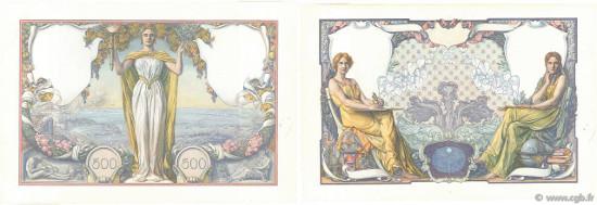 lot 4020108: 500 Francs SCIENCE ET PHILOSOPHIE (1931), Pattern without filigree, large size. XF. Estimate: 12 000 euro.