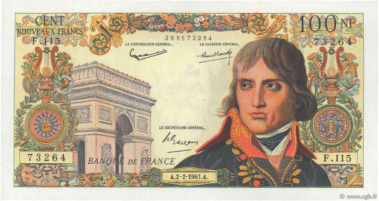 lot 4020214 - 100 Nouveaux Francs BONAPARTE (1959), FORGERY NOTE called Bojarski. Fayette ref. F.59.00. UNC. Estimate: 9 000 euro.