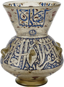 Gilded and enamelled mosque lamp, inscribed with the chapter of Light (Qur'an 35). Mamluk Egypt or Syria, 14th century. © The Trustees of the British Museum.