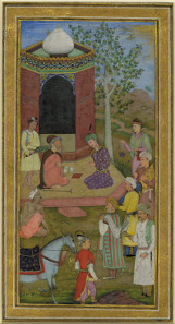 Album leaf representing a prince visiting a holy man, Mughal India, 1610. © The Trustees of the British Museum.
