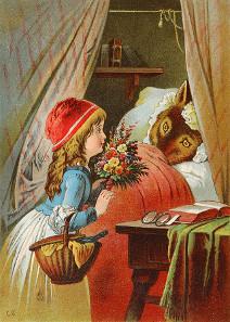Rotkäppchen und der Wolf. Illustration von Carl Offterdinger (19. Jh.). Quelle: Wikipedia.