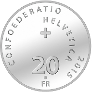 Switzerland / 2015 / 20 Swiss Francs / Silver 0.835/ 20 g / 33 mm / Design: Roland Hirter, Bern / Mintage: 35,000 (uncirculated), 5,000 (Polished proof in presentation case).