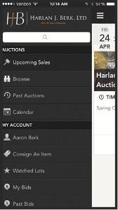 Screenshots of the HJB app.