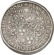 Nr. 832: ALTDEUTSCHLAND / BURGMILCHLING. Heinrich Hermann Schutzbar, 1591-1649. Reichstaler 1611, Nürnberg. Sehr selten. Sehr schön. Taxe: 4.000,- Euro.