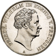 Lot 718: GERMAN STATES / BRANDENBURG-PRUSSIA. Frederick William III, 1797-1840. Vereinsdoppelthaler 1838 A. Pattern. Extremely rare. Almost uncirculated. Estimate: 20,000,- euros.
