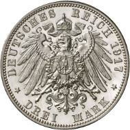 Lot 4134: GERMAN EMPIRE / SAXONY. Frederick August III, 1904-1918. 3 mark 1917 E. J. 141. Proof. Estimate: 75,000,- euros.