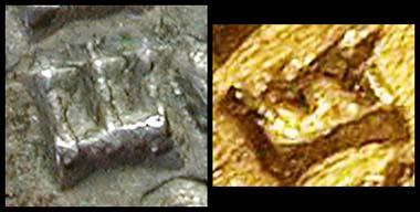 Abb. 8 und 9: Links die Fälschung, rechts das Original