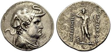 123: Demetrios I., 200-190 v. Chr. Tetradrachmon. Mitchiner 57, Type 103d, Bop. 164, série 1C. Selten. Gutes sehr schön. Schätzpreis: 1.200 Euro.