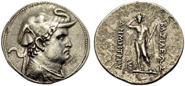 123: Demetrios I., BC. Tetradrachm. Mitchiner 57, Type 103d, Bop. 164, série 1C. Rare. VF. Estimate: 1,200 euro.