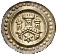 487: Ravensburg, Königliche Münzstätte. Brakteat um 1275. CC 215, Fd. Elchenreute 61a, Berger 2551, Cahn 208. Vorzüglich-Stempelglanz. Schätzpreis: 100 Euro.