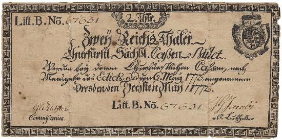 748: Saxony. 2 Reichstaler 6. 5. 1772, Litt. B, No. 67651. Watermark. Pick S 607, Pi-Ri. A 375. Nearly fine. IV -. Estimate: 1,600 euro.