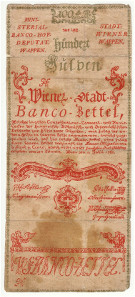 Vienna City Bank Notes. 100 Gulden. 1. 7. 1762.