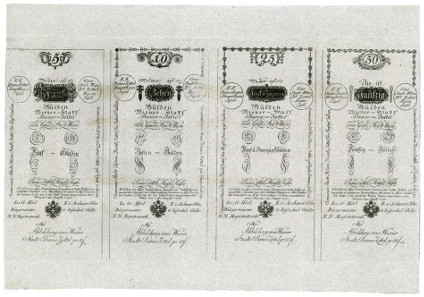 Vienna City Bank Notes. 5, 10, 25, 50, 100, 500, 1000 Gulden 1. 8. 1796. Recto.
