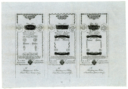 Vienna City Bank Notes. 5, 10, 25, 50, 100, 500, 1000 Gulden 1. 8. 1796. Verso.