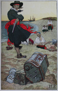 Howard Pyle, Captain Kidd overseeing a treasure burial, before 1911.