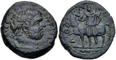 Lot 365: SYRIA, Coele-Syria. Laodicea ad Libanum. Caracalla. AD 198-217. SNG Copenhagen 445. VF, dark green patina. From the Dr. George Spradling Collection. Estimate $150.