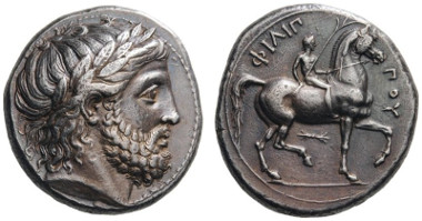 23: Philip II, 359-336 BC. Tetradrachm, Pella, 342/1-337/6. Le Rider 195 (D114/R157). Extremely fine. Estimate: 3,000 CHF. Hammer price: 22,000 CHF.