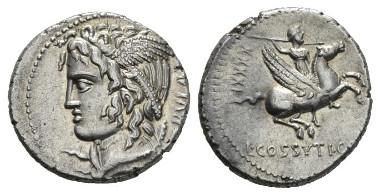 376: C. Cossutius C.f. Sabula. Denarius 74. Babelon Cossutia 1. Sydenham 790. Crawford 395/1. Scarce. Good Extremely Fine. Ex Sternberg sale XIV, 1984, 203 and NAC sale 73, 2013, 123. Starting bid: £900.