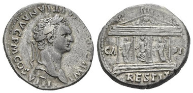 423: Domitian, 81-96. Cistophoric Tetradrachm. Uncertain mint (Ephesus or, Rome) 82. RIC 222. RPC 864 C. 23 (100 Fr.). Rare. Lightly toned. Good Very Fine / About Extremely Fine. Starting bid: £280.