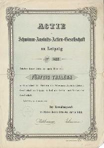 Los 199: Leipzig, Schwimm-Anstalts-Actien-Gesellschaft zu Leipzig Aktie über 50 Thaler 22. Oktober 1866. Äußerst seltenes Exemplar. Schätzpreis: 700 Euro.