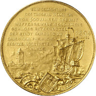 Hamburg. Bankportugalöser of 100 mark 1894 commemorating the 500th anniversary of the Union of Hamburg and Ritzebüttel Castle. Auction Künker 264 (June 24/25, 2015), lot 3718; estimate: 1,500 euros.