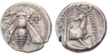 58: Ionia, Ephesos, ca. 360/350 v. Chr., Tetradrachme, Biene / Hirschprotome, IV, Taxe 580 Euro.