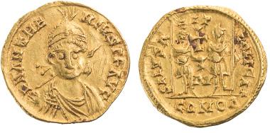 774: Anthemios, 467-472, Solidus, Ravenna, G. Lacam, La fin de l'empire romain et le monnayage oren italie 455-493, Luzern 1983, S. 436, Typ V-A I.2.2, Tf. CIX, IV, RRR, Taxe 2.800 Euro.