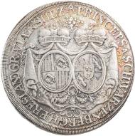 964: Schwarzenberg-Sulz, Fürstentum, Ferdinand Wilhelm Eusebius, 1683-1703, und Maria Anna von Sulz, Taler 1696 (Wien), auf seine Hochzeit, Dav. 7701, Tannich 10, IV+, Taxe 300 Euro.