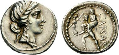 193: Julius Caesar, Denarius, 47-46 BC. Babelon (Julia) 10. Crawford 458/1. Sydenham 1013. Extremely fine. From a Collection of a Swiss numismatist. Starting bid: 750 CHF.