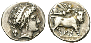 19: CAMPANIA, Neapolis. Circa 320-300 BC. Didrachm. HN Italy 571. Sambon 439. SNG ANS 318. Good very fine. From the collection of E. J. Haeberlin (1847-1925). Starting bid: 550 CHF