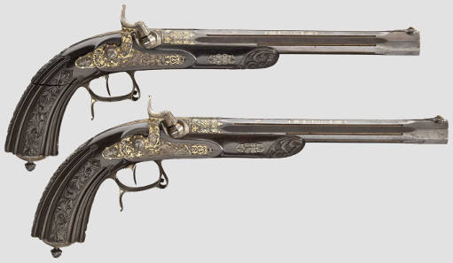 Pair of deluxe percussion pistols, Lebeda in Prague, circa 1840/50. Hammer Price: 18,000 Euros.