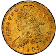 1128: 1808 Capped Bust Left Quarter Eagle. Bass Dannreuther-1. Rarity-4. Mint State-65 (PCGS). Estimate: $1,200,000-$1,750,000. Price Realized: $2,350,000.