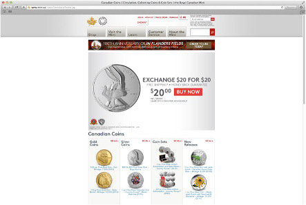 The Royal Canadian Mint website: a pure invitation to shop coins.