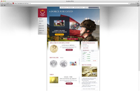 At the Austrian Mint website shopping coins is in the centre of everything, too.