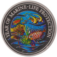 The first coloured coin from 1992 ...